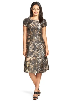 Lafayette 148 New York 'Corey' Print Satin Fit & Flare Dress