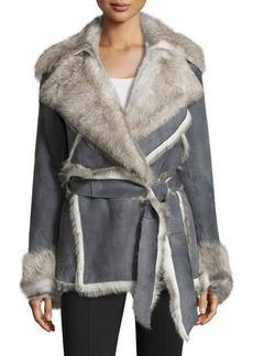 Lafayette 148 New York Cori Suede & Shearling Fur Coat