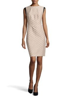 Lafayette 148 New York Cosette Jacquard Faux-Leather Trimmed Dress, Khaki