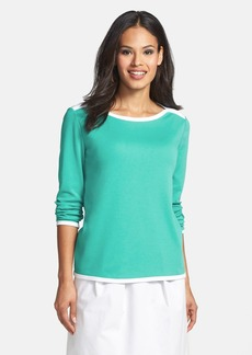 Lafayette 148 New York Cotton Boatneck Top