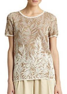LAFAYETTE 148 NEW YORK Cotton Crepe Jacquard Sweater