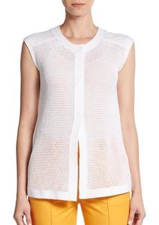Lafayette 148 New York Cotton-Mesh Vest