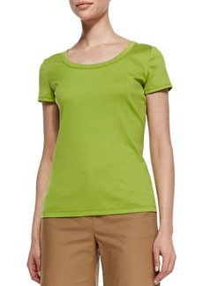 Lafayette 148 New York Cotton-Stretch Basic Tee, Bamboo