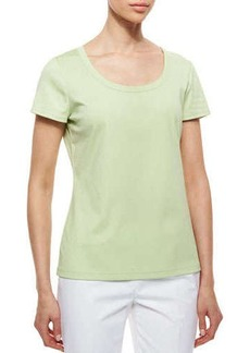 Lafayette 148 New York Cotton-Stretch Basic Tee, Mint