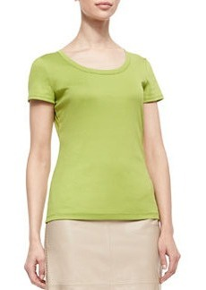 Lafayette 148 New York Cotton-Stretch Basic Tee, Parakeet