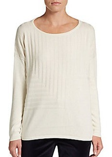 Lafayette 148 New York Cotton/Cashmere Drop-Shoulder Sweater