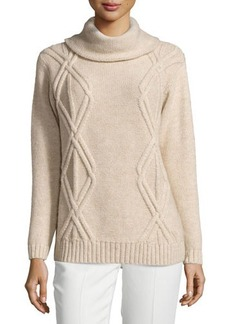 Lafayette 148 New York Cowl-Neck Diamond Cable-Knit Sweater