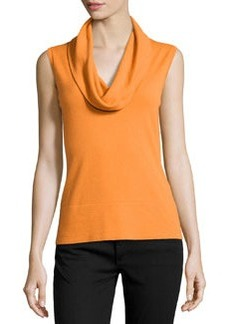 Lafayette 148 New York Cozy Cowl-Neck Wool Tank Top, Cayenne