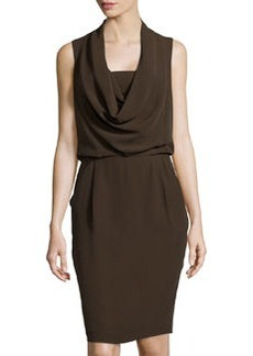 Lafayette 148 New York Crepe Cowl-Neck Dress, Espresso