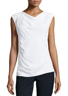 Lafayette 148 New York Crepe Drape-Neck Top, Winter White