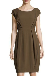 Lafayette 148 New York Crepe Inverted-Pleat Dress, Brun