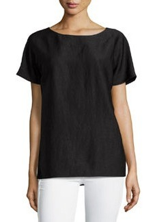 Lafayette 148 New York Crewneck Boxy Short-Sleeve Top, Black