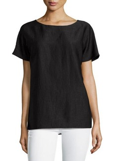 Lafayette 148 New York Crewneck Boxy Short-Sleeve Top