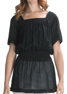 Lafayette 148 New York Crinkle Gauze Shirt - Wool, Short Sleeve (For Women)