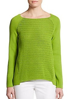 Lafayette 148 New York Crochet-Front Sweater