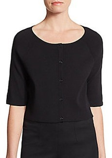 Lafayette 148 New York Cropped Cold-Shoulder Cardigan