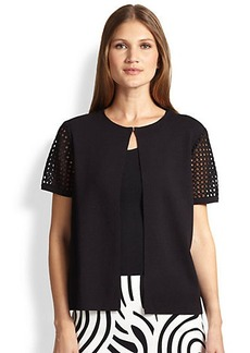 Lafayette 148 New York Cropped Eyelet-Detail Cardigan
