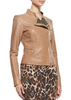 Lafayette 148 New York Cropped Lamb Leather Moto Jacket, Camel