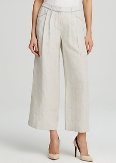 Lafayette 148 New York Cropped Wide Leg Linen Pants
