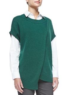Lafayette 148 New York Crossover Cap-Sleeve Sweater, Botanic