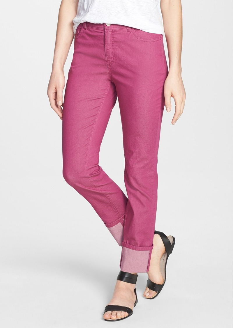 Lafayette 148 New York Cuffed Colored Stretch Denim Crop Jeans