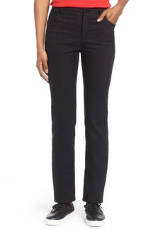 Lafayette 148 New York Curvy Fit Jacquard Stretch Slim Leg Jeans (Black) (Regular & Petite)