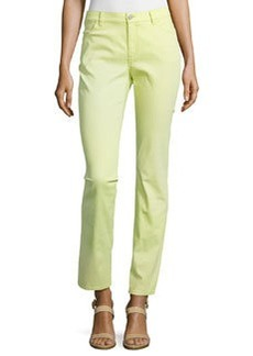 Lafayette 148 New York Curvy Slim-Leg Denim Pants, Snow Pea