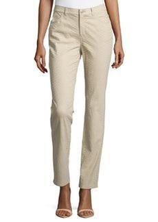 Lafayette 148 New York Curvy Slim-Leg Jacquard Pants, Khaki