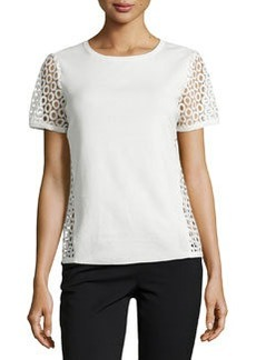 Lafayette 148 New York Cutout Short-Sleeve Top, Creme