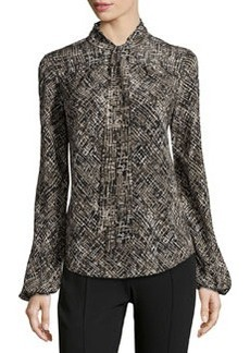 Lafayette 148 New York Dalia Subdued Etched-Print Blouse, Black Multi