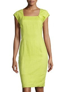 Lafayette 148 New York Dawn Square-Neck Sheath Dress, Agave
