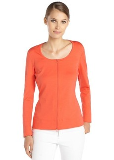 Lafayette 148 New York dayglow orange stretch cotton woven long sleeve scoopneck zip cardigan