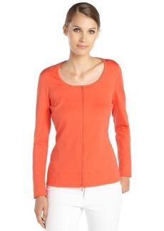 Lafayette 148 New York dayglow orange stretch cotton woven long sleeve scoopneck zip cardigan