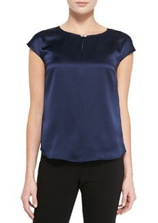 Lafayette 148 New York Deann Silk Cap-Sleeve Blouse