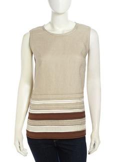 Lafayette 148 New York Deena Sleeveless Striped Summer Linen Blouse