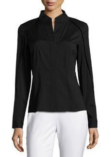 Lafayette 148 New York Demi High-Low Long-Sleeve Blouse, Black