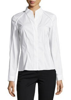 Lafayette 148 New York Demi High-Low Long-Sleeve Blouse, White