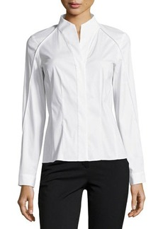 Lafayette 148 New York Demi High-Low Long-Sleeve Blouse