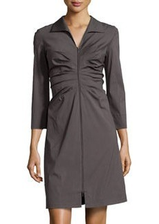 Lafayette 148 New York Denielle Ruched 3/4-Sleeve Dress, Graphite