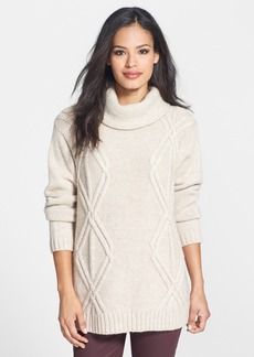 Lafayette 148 New York Diamond Cable Knit Cowl Neck Sweater