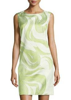 Lafayette 148 New York Diarra Jacquard Sleeveless Dress, Scallion/Multi