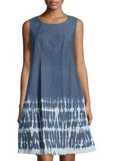 Lafayette 148 New York Dobby Denim Sleeveless Trapeze Dress, Indigo/Multi