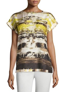Lafayette 148 New York Donna Printed Short-Sleeve Blouse