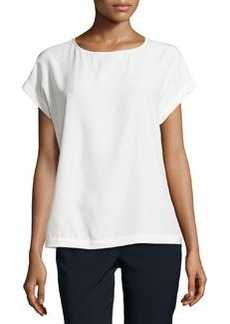 Lafayette 148 New York Donna Short-Sleeve Silk Tee, Cloud