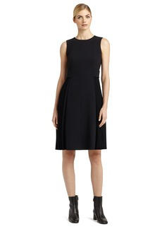 Lafayette 148 New York 'Dorien' Side Pleat Mixed Media Dress (Regular & Petite)