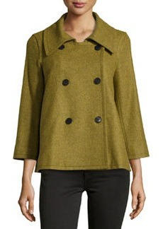 Lafayette 148 New York Double-Breasted Topper, Olio Melan