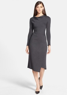 Lafayette 148 New York Drape Neck Faux Wrap Wool Dress