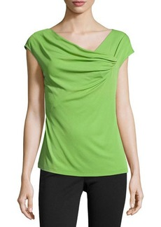 Lafayette 148 New York Draped-Front Cap-Sleeve Top