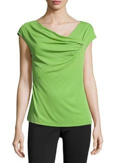 Lafayette 148 New York Draped-Front Cap-Sleeve Top, Verde
