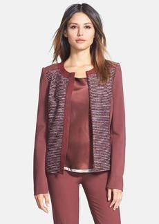 Lafayette 148 New York 'Drina' Leather Trim Tweed & Ponte Jacket